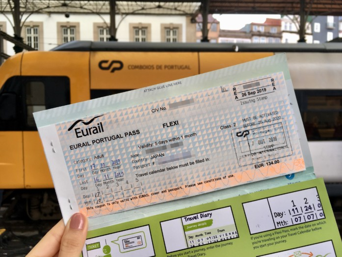 ユーレイルパスでポルトガル鉄道に乗車