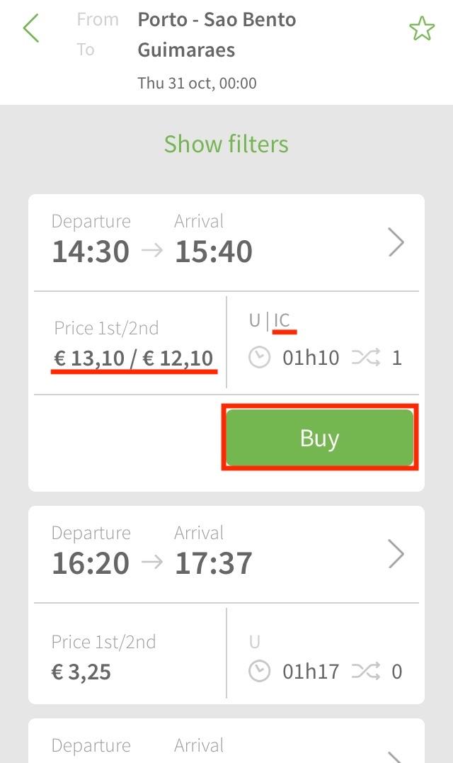 ポルトガル鉄道CPアプリの使い方7