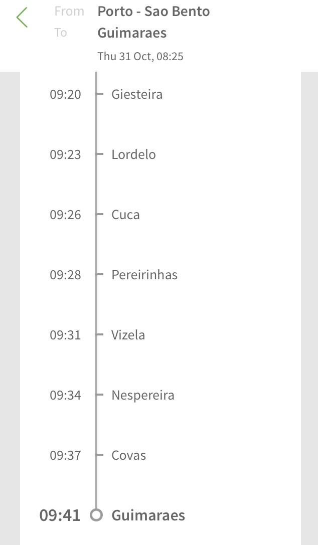 ポルトガル鉄道CPアプリの使い方8