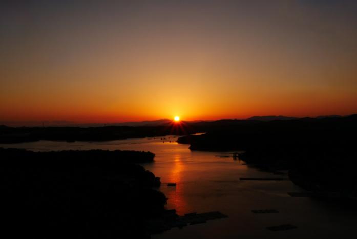 ザ クラシックの屋上展望台より「日本の夕陽百選」に選ばれた夕景