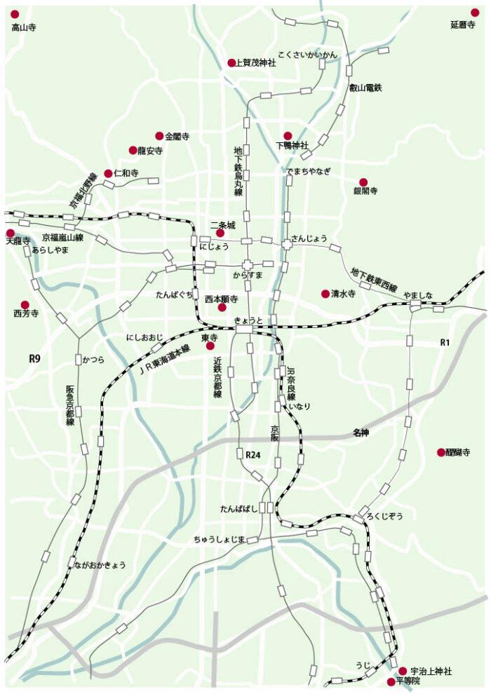 京都の世界遺産の地図