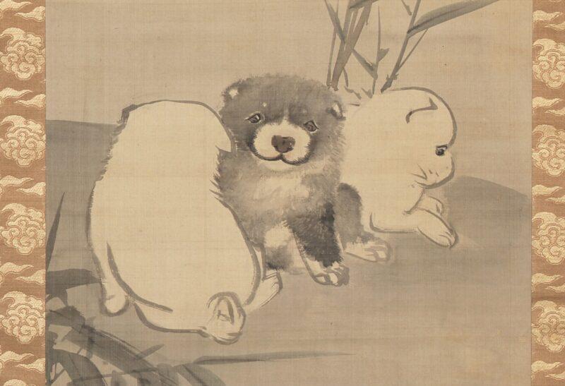 円山応挙「竹に狗子図」左